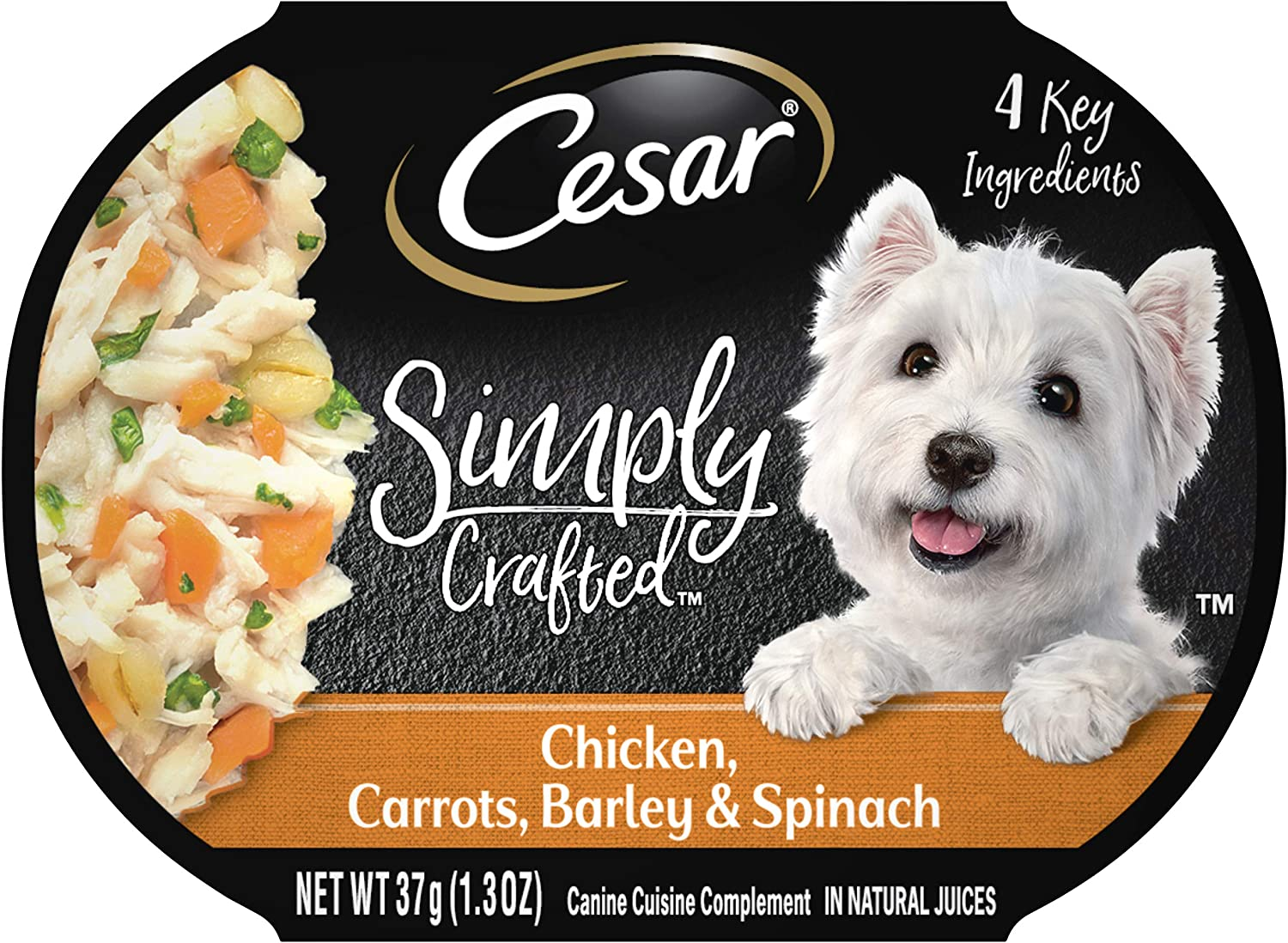 CESAR SIMPLY CRAFTED Adult Soft Wet Dog Food Meal Topper, Chicken, Carrots , Barley & Spinach, (10) 1.3 oz. Tubs