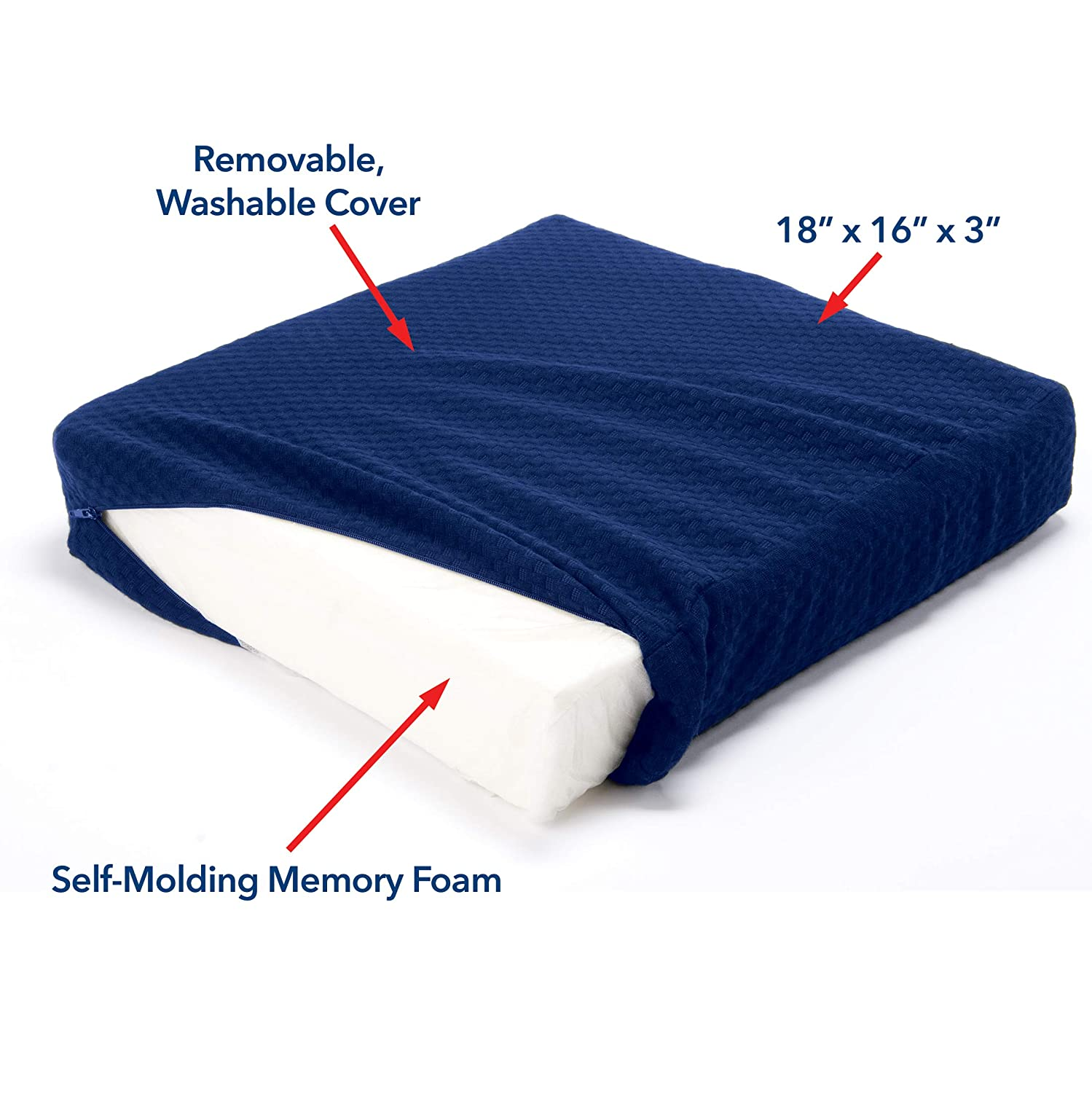 18 x 16 x 3 Carex Memory Foam Seat Cushion Comfortable Chair Pad Office Chair Cushion and Wheelchair Cushion
