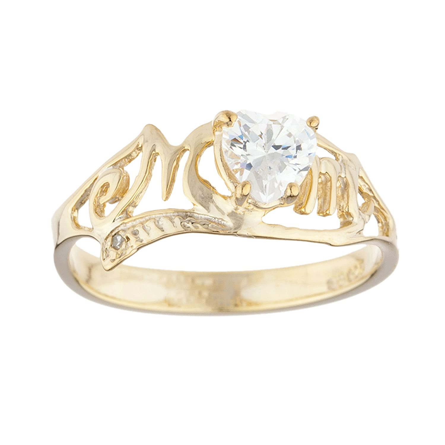 0.50 Ct White Sapphire & Diamond Heart Mom Ring 14Kt Yellow Gold Plated Over .925 Sterling Silver