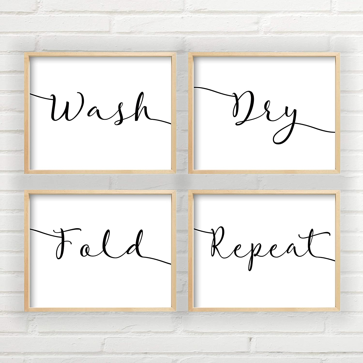 Amazon Com Wash Dry Fold Repeat Wall Art Laundry Room Wall Decor Art Prints Set Of 4 Laundry Room Wall Art Farmhouse Decor 4 Unframed Farmhouse Prints Handmade