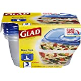 GladWare Deep Dish Food Storage Containers, Large Rectangle Holds 64 Ounces of Food, 3 Count