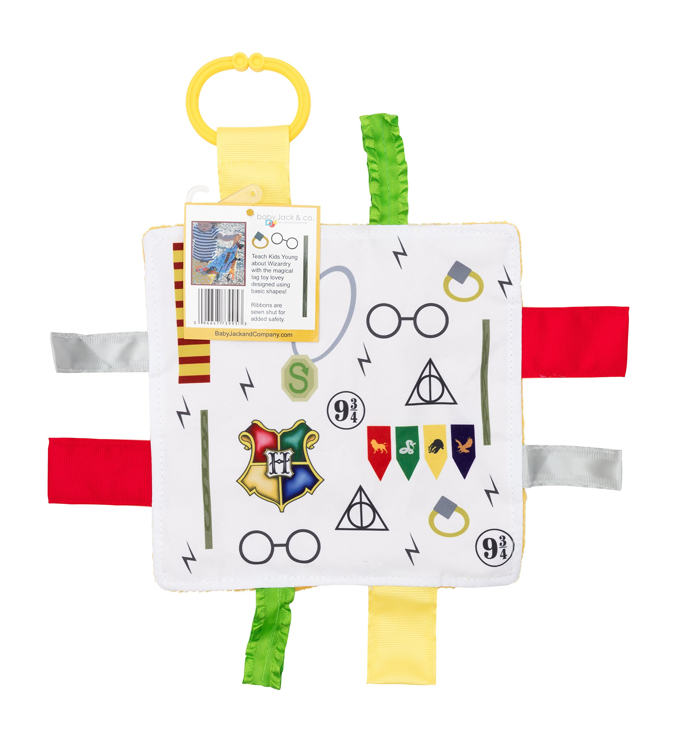Baby Sensory Crinkle & Teething Square Lovey Toy with Closed Ribbon Tags for Increased Stimulation: 8''X8'' (Wizard)