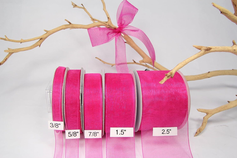 No Wire 5//8 Sheer Organza Ribbon 25 Yards Fuchsia