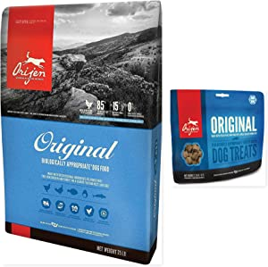Orijen 1 Original Dry Dog Food 25 lb. Bag & 1 Original Dog Treat 3.25 OZ Bag Bundle (2 Items)