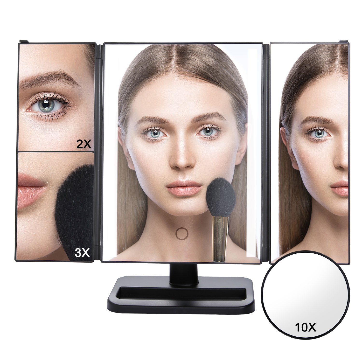Lifewit Vanity Makeup Mirror Trifold 24 Led Lighted with Touch Screen, 10X 3X 2X 1X Magnification and USB Charging, 180° Adjustable Stand for Countertop Cosmetic Makeup (Black)