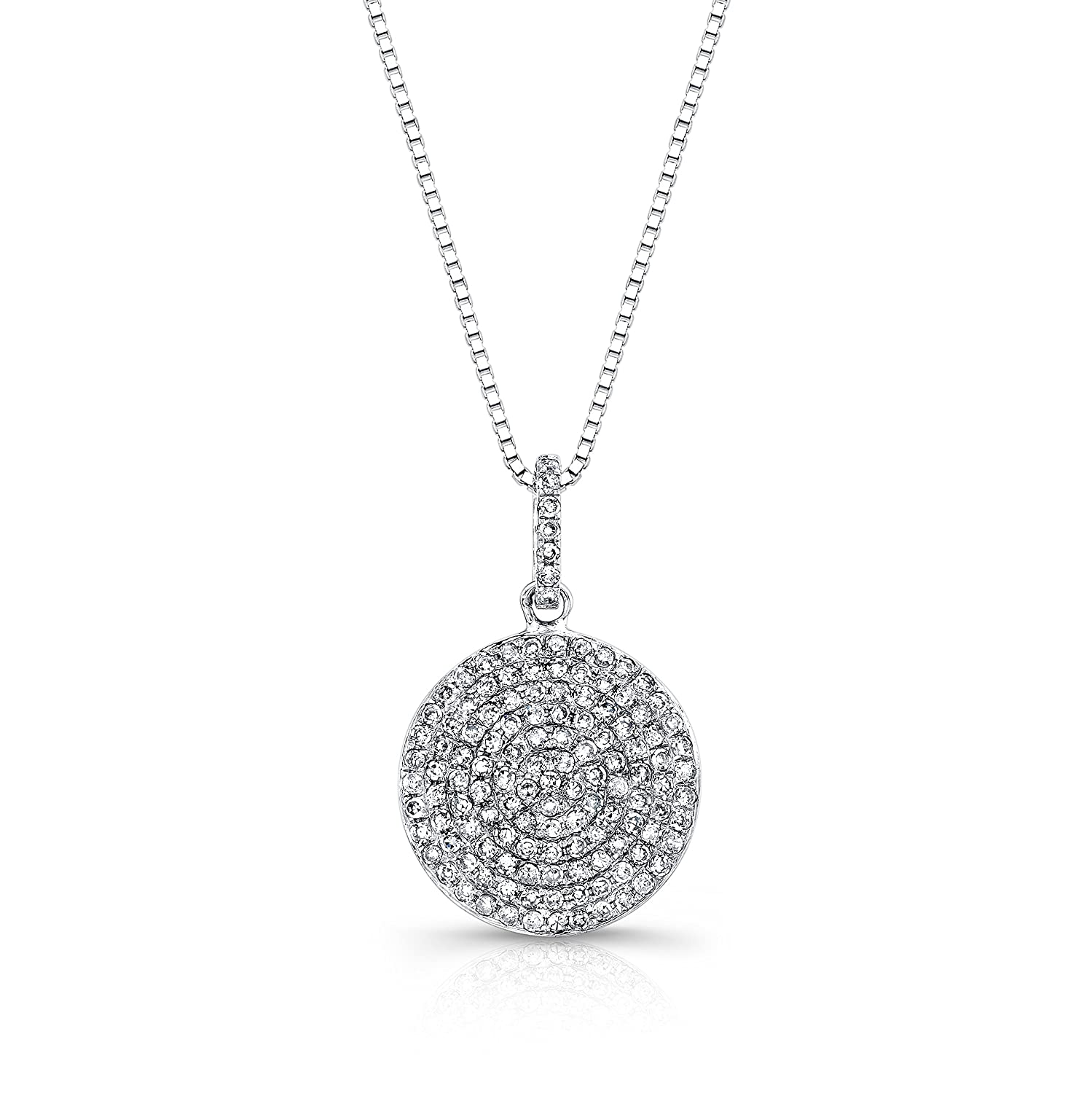 546d2fe51ba2b 14k White Gold Circle Pave Diamond Disc Pendant Necklace (1/2cttw) with  18-inch chain by Diamond Wish
