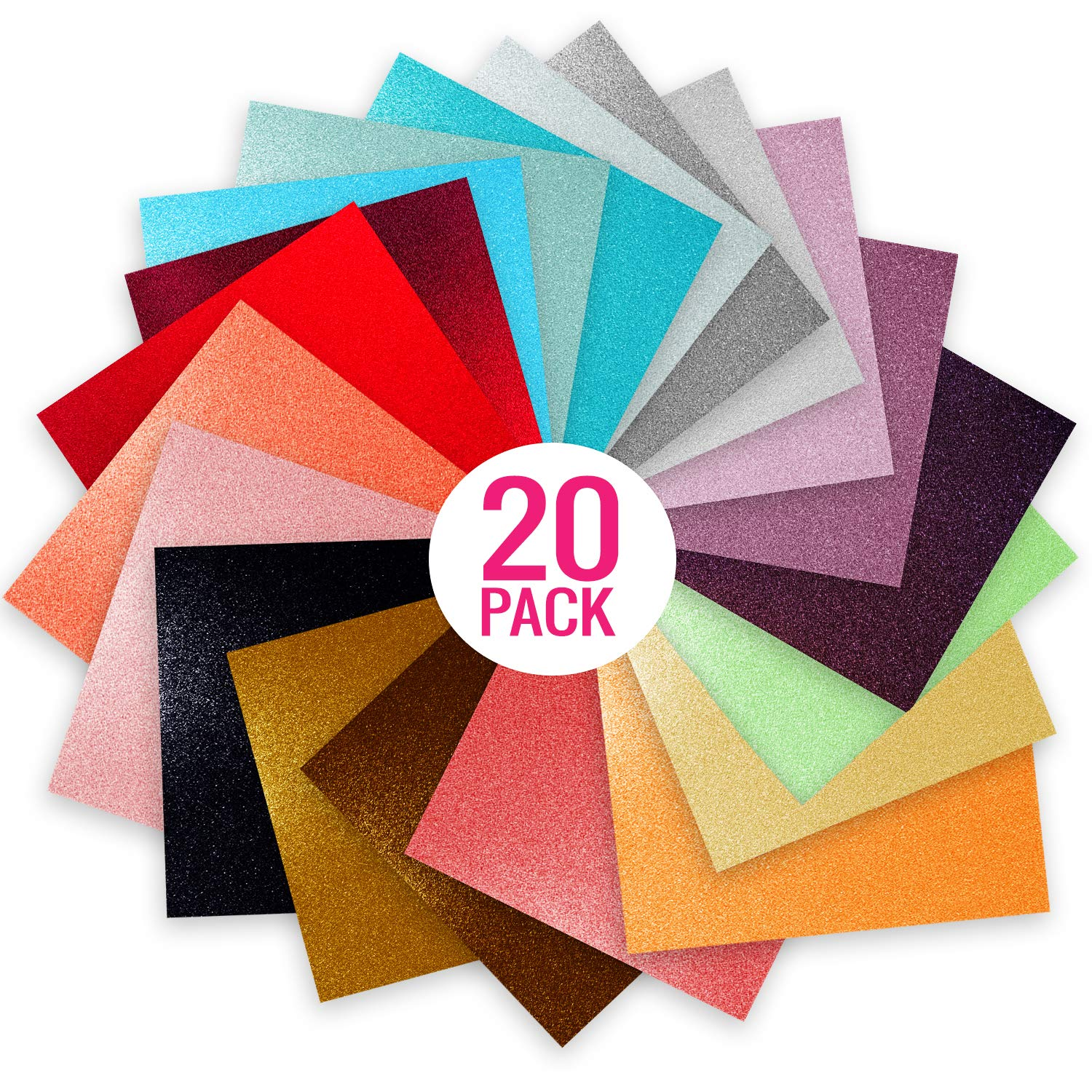 Glitter Vinyl Self Adhesive Vinyl Sheets 6 x 6 | Cricut Silhouette Cameo Craft Cutters | 20 Pack Assortment Craft Vinyl | Stick to Glass, Plastic, Metal & More | Use Our High-Tack Transfer Paper Craftopia 4336976694