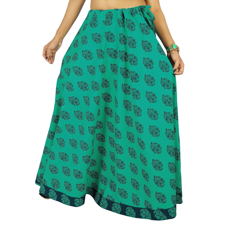 gedruckte indische Baumwollkleidung Frauen Strandabnutzungsrock Hippie Spitze