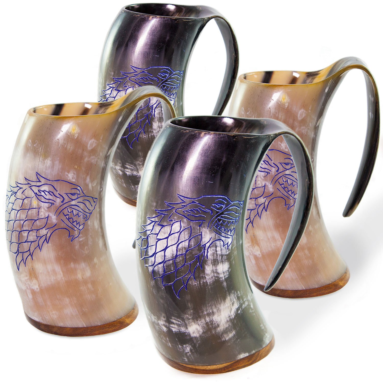 Norse Tradesman Genuine Viking Drinking Horn Tankard (4, The Fenrir)