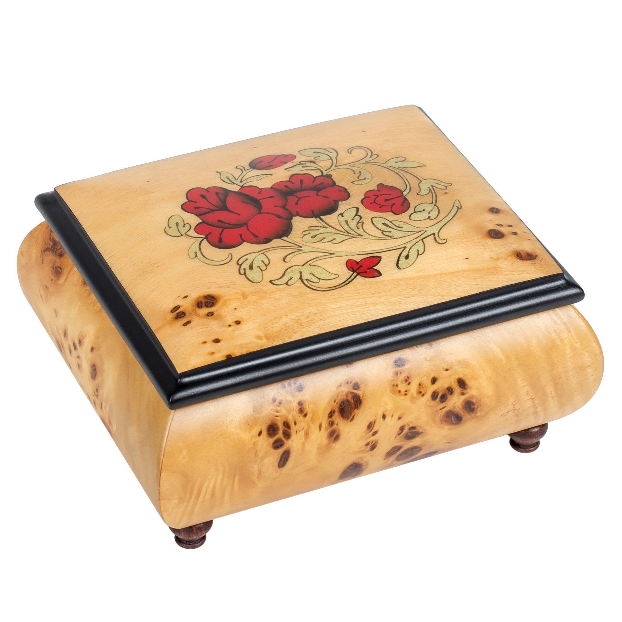 Red Wild Roses Pioppo Italian Inlaid Wood Jewelry Music Box Plays La Vie en Rose by Splendid Music Box Co.