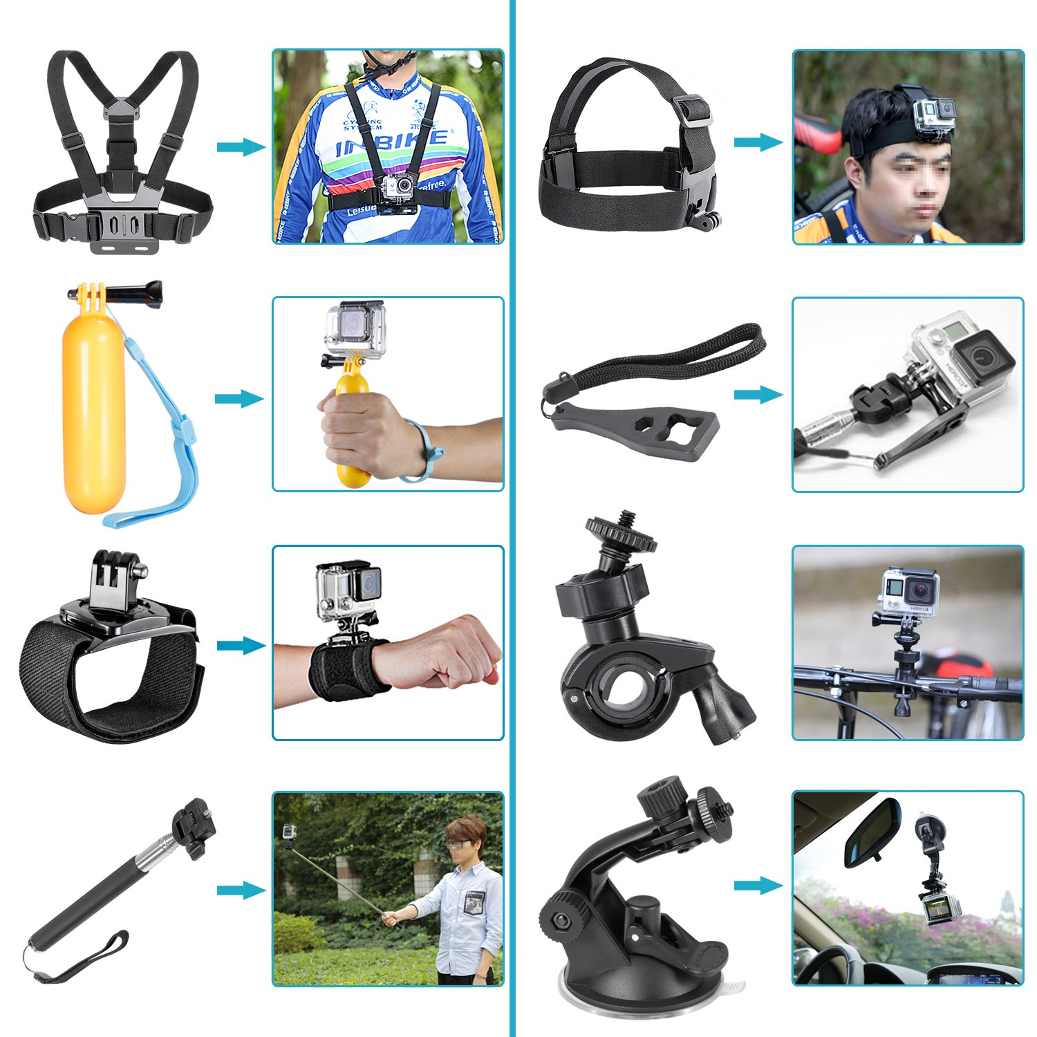 Neewer 12-In-1 Action Camera Accessory Kit for GoPro Hero Session/5 Hero 1 2 3 3+ 4 5 6 SJ4000 5000 6000 DBPOWER AKASO VicTsing APEMAN WiMiUS Rollei QUMOX Lightdow Campark and Sony Sports DV and More