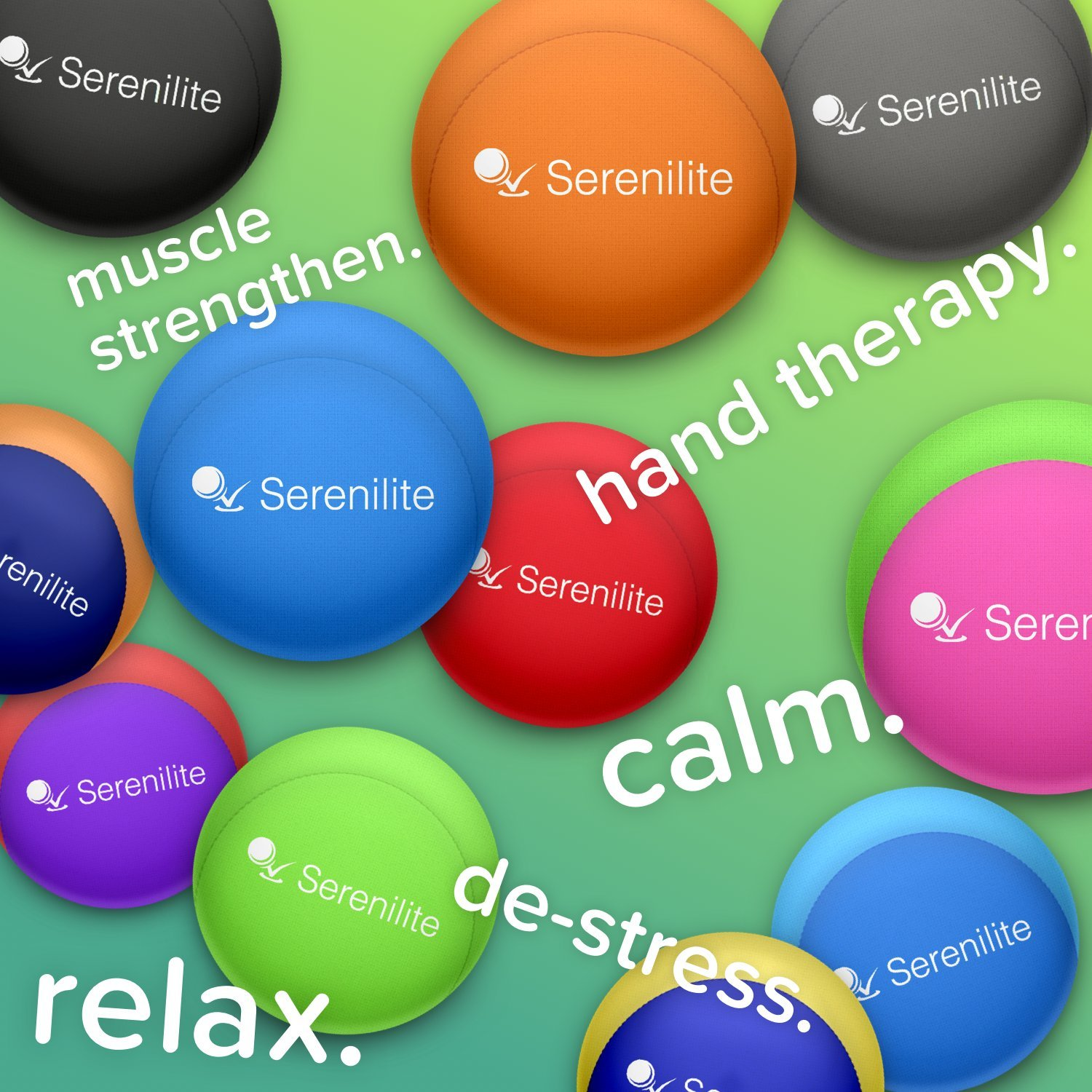 Serenilite Stress Ball & Hand Therapy Gel Squeeze Ball - Great for Hand Exercises and Strengthening - Optimal Stress Relief - Dual Color (Ocean Breeze) by Serenilite (Image #5)