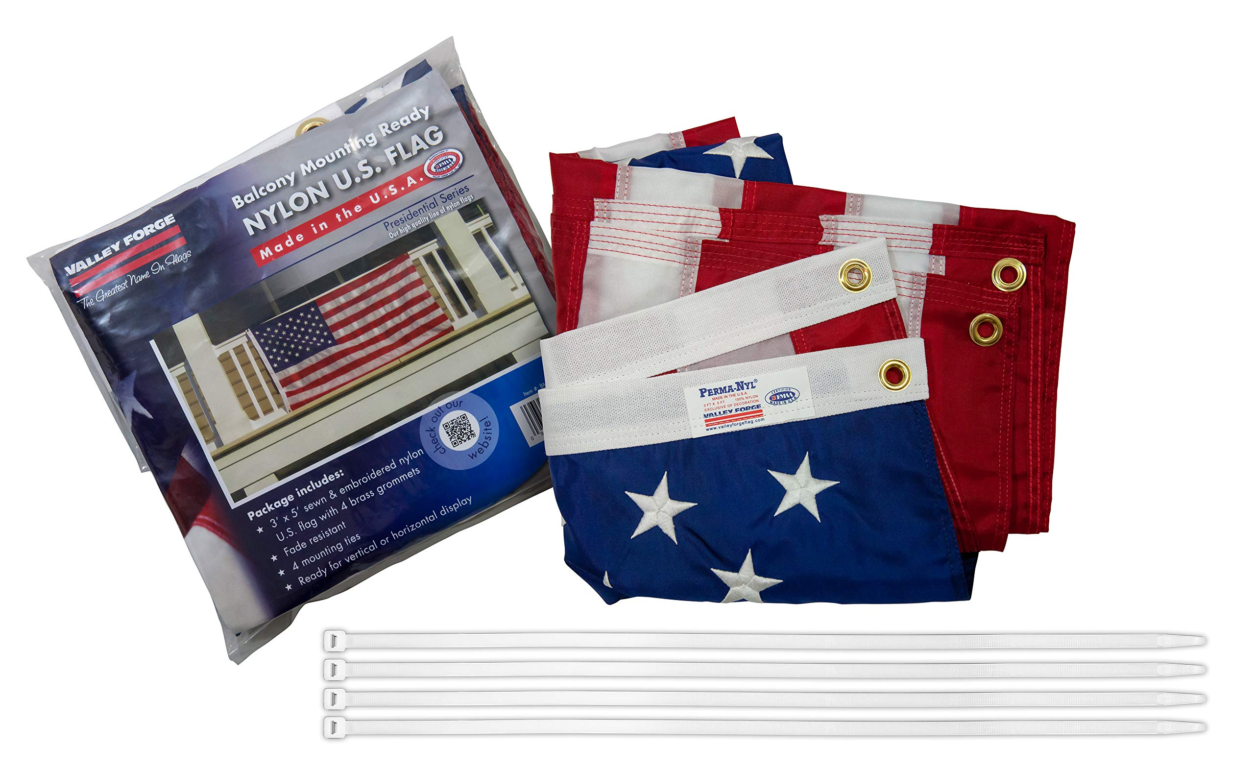 Valley Forge, American Flag Kit, Nylon, 3'x5', 100% Made in USA, Balcony Mounting Kit, Heavy Duty Brass Grommets, Fasteners