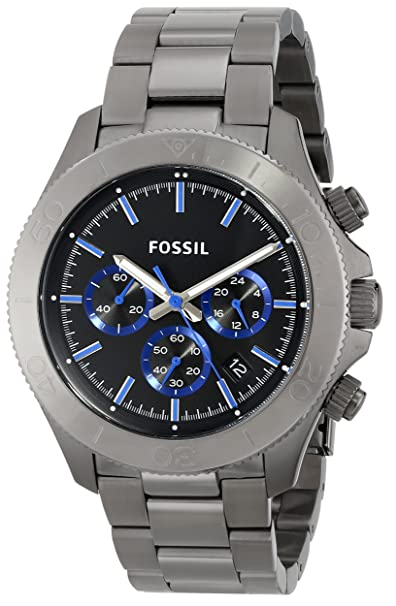 Amazon.com: Fossil Mens CH2869 Retro Traveler Smoke-Tone Stainless Steel Watch: Fossil: Watches