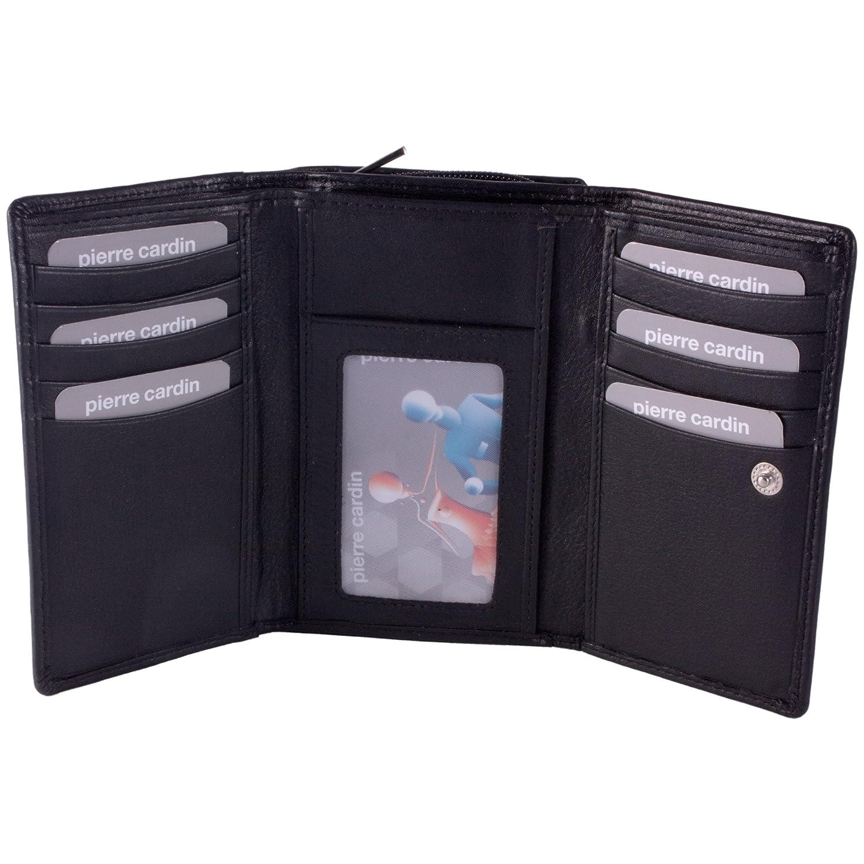 Pierre Cardin, cartera de piel auténtica para mujeres, con 10 ranuras para tarjetas de crédito, color negro: Amazon.es: Zapatos y complementos