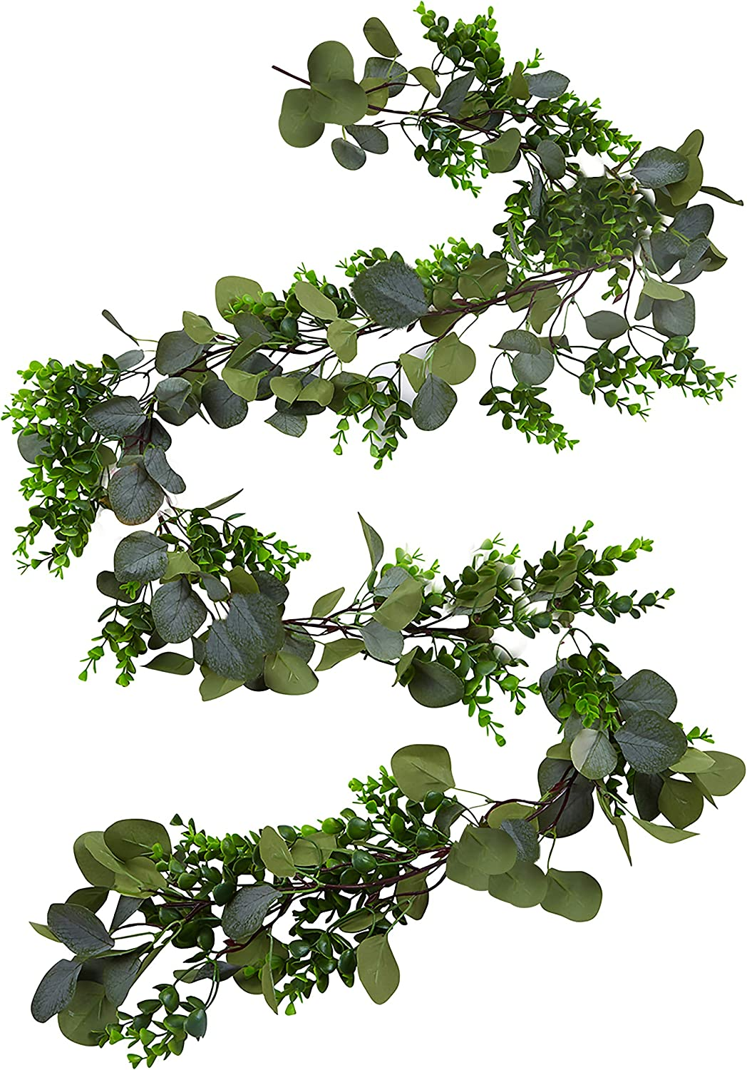 Faux Eucalyptus Garland – 6.10 Feet Fake Garland – Artificial Floral Greenery Garland Wedding for Arch, Fireplace, Mantel Décor, Rustic Home, Table Runner, Centerpiece – Olive and Eucalyptus Garland