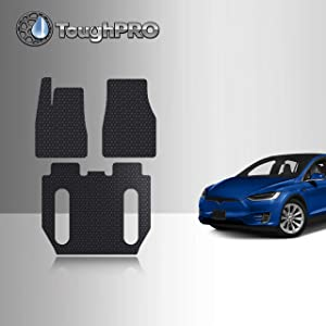 TOUGHPRO Floor Mat Accessories Set 1st + 2nd + 3rd Row Compatible with Tesla Model X (6 Seater Without 2nd Row Seat Middle Console) - All Weather - Heavy Duty - Black Rubber - 2017, 2018, 2019, 2020