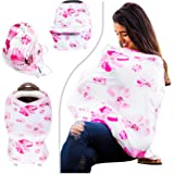 "SIKONI Privacy Nursing Cover, Multi Use: Maternity Breastfeeding Fashion Scarf, Stroller Cover, Baby Carseat and High Chair Cover | Unisex Color ""Floral"" 