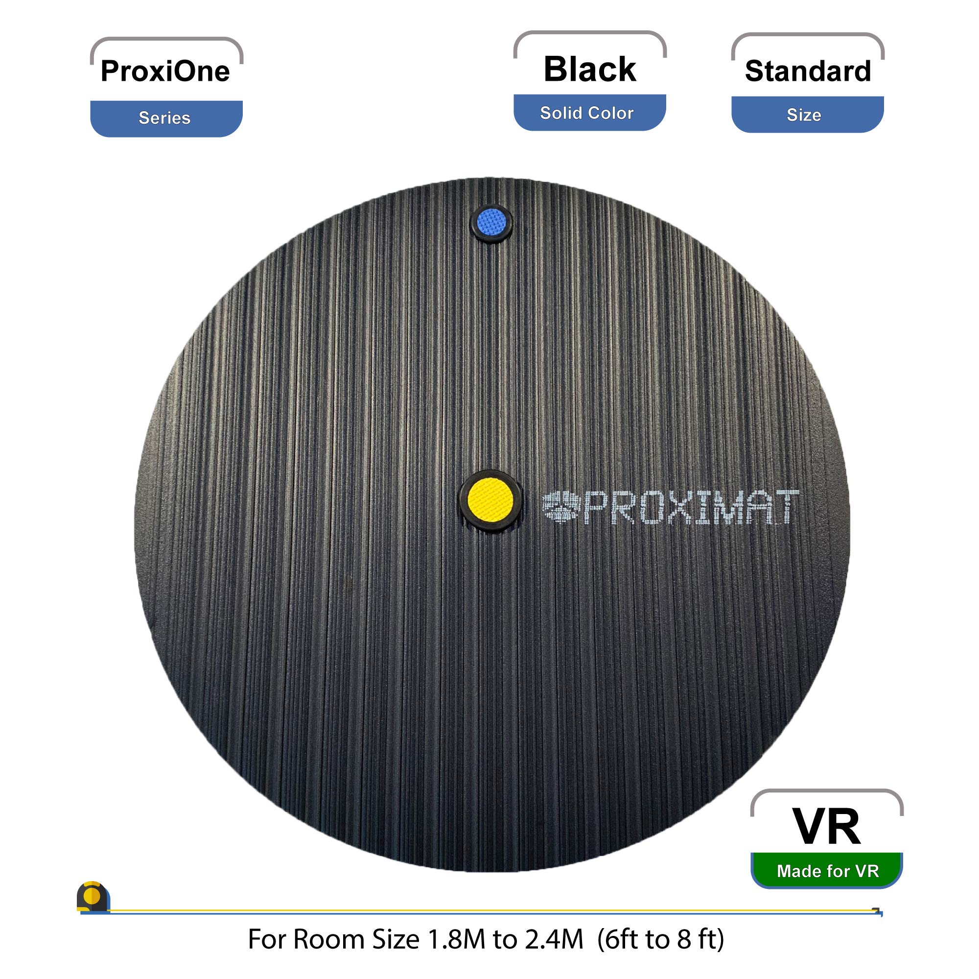 ProxiMat | ProxiOne | Black | Standard | VR Virtual Reality Chaperone Safety Mat | 6' to 8' Room Scale | for HTC Vive, Oculus Rift Quest, Playstation PSVR, Pimax 5K 8K, Valve Index Headset ... by Proximat