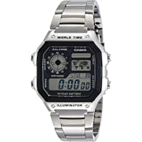 Casio Men's AE1200WHD-1AV Silver Stainless-Steel Quartz Watch with Digital Dial