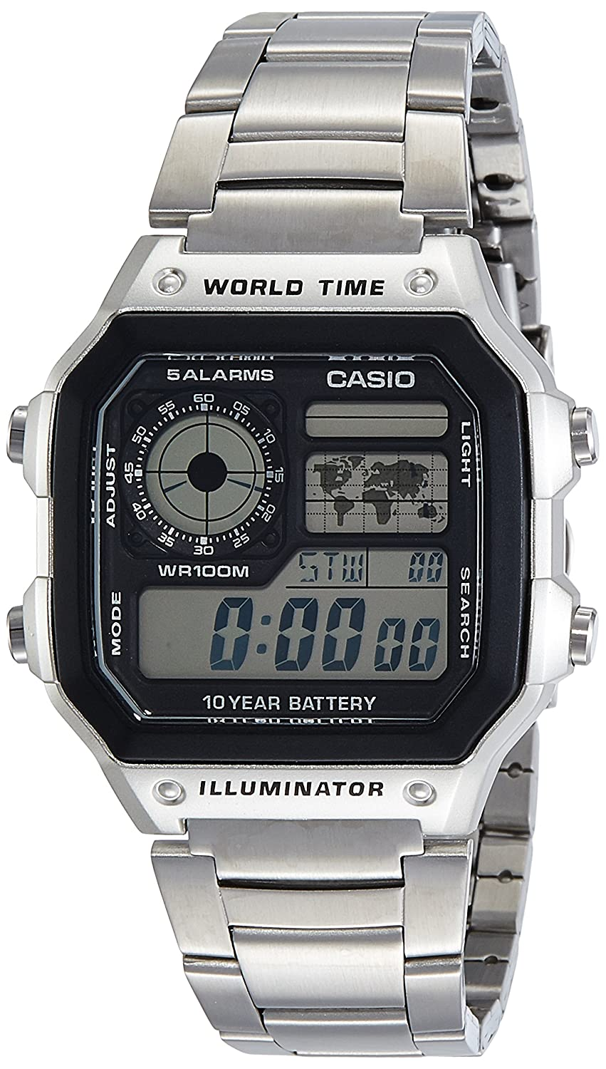 Amazon.com: Casio Mens AE1200WHD-1AV Silver Stainless-Steel Quartz Watch with Digital Dial: Watches