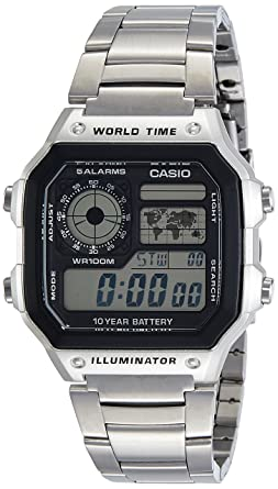 Casio Mens AE1200WHD-1AV Silver Stainless-Steel Quartz Watch with Digital Dial
