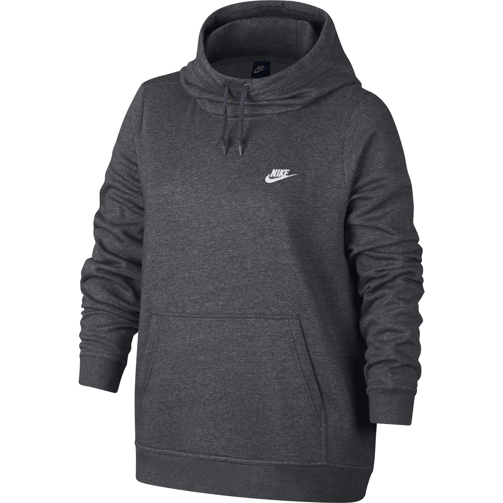 NIKE Sportswear Women's Plus Club Funnel-Neck Hoodie, Charcoal Heather/Charcoal Heather/White, 2X