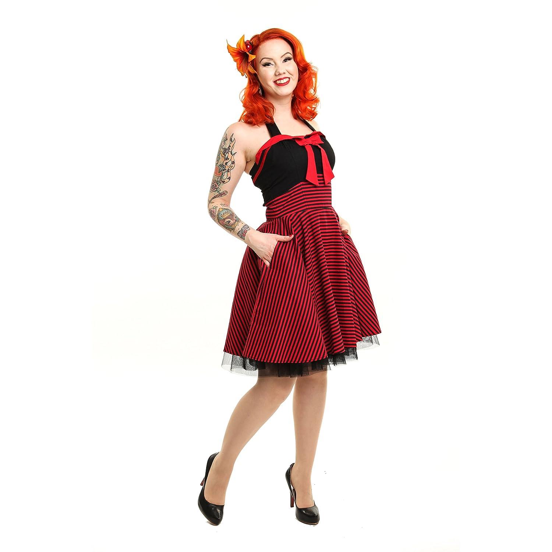 Rockabella Damen Neckholder Minikleid Ärmellos - Marina Rockabilly Mini Kleid Rot Schwarz Gestreift