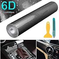 YAOBLUESEA 6D-autofolie, 300 x 30 cm, flexibel, carbon vinyl wrapping folie stickers voor koplampen, getinte folie…