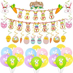 Easter Party Decorations, Happy Easter Banners, Easter Rabbit Balloon,Easter Hanging Swirl Ceiling Decorations, for Easter Ornaments, Easter Party Decor, Home Party Favors Supplies