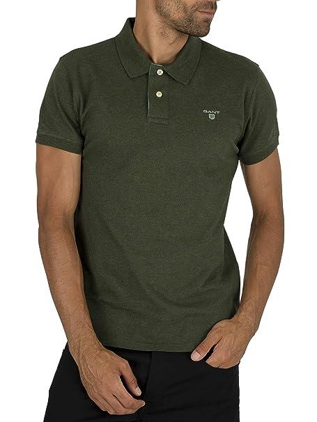 GANT de los Hombres Cuello Contraste Pique Rugger Polo, Verde ...