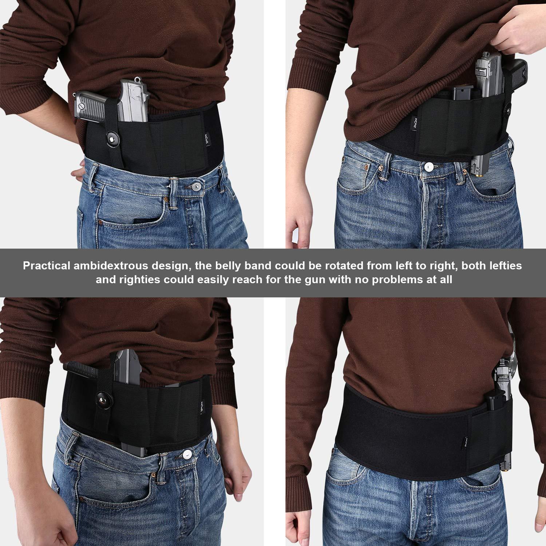 ProCase Cinturón Pistolera Oculta, Pretina Elástica Ajustable Neopreno para Arma de Fuego, Correa de Cintura de Pistolete para Hombres y Mujers -Negro: ...