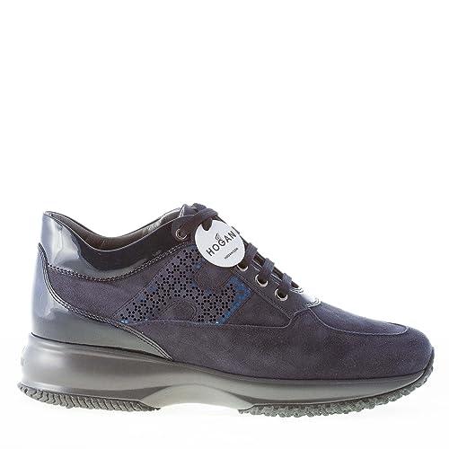 HOGAN scarpe donna Interactive sneaker camoscio blu denim con vernice e laminato