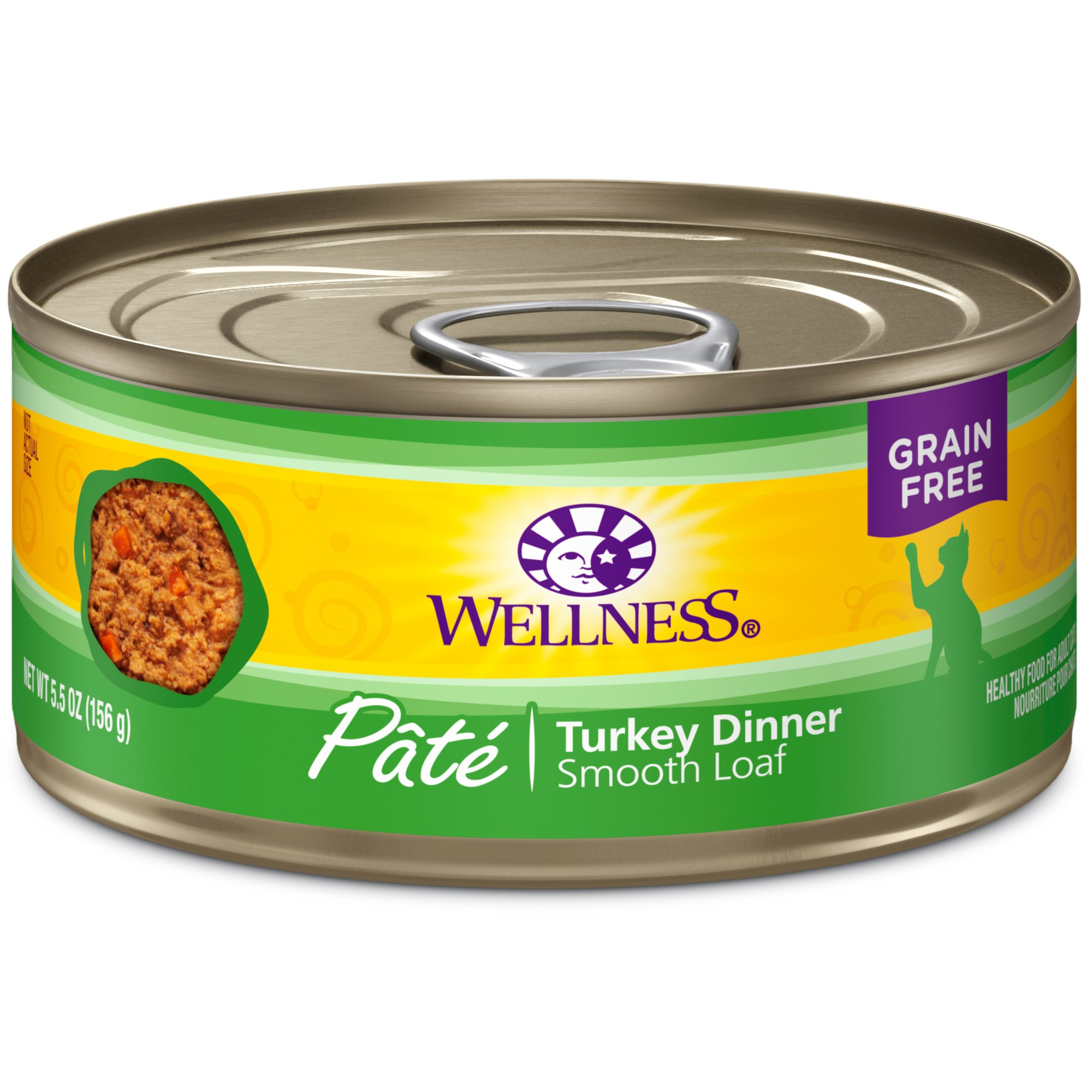 Wellness Natural Grain Free Wet Canned Cat Food, Turkey Pate, 5.5-Ounce Can (Pack Of 24) by Wellness Natural Pet Food