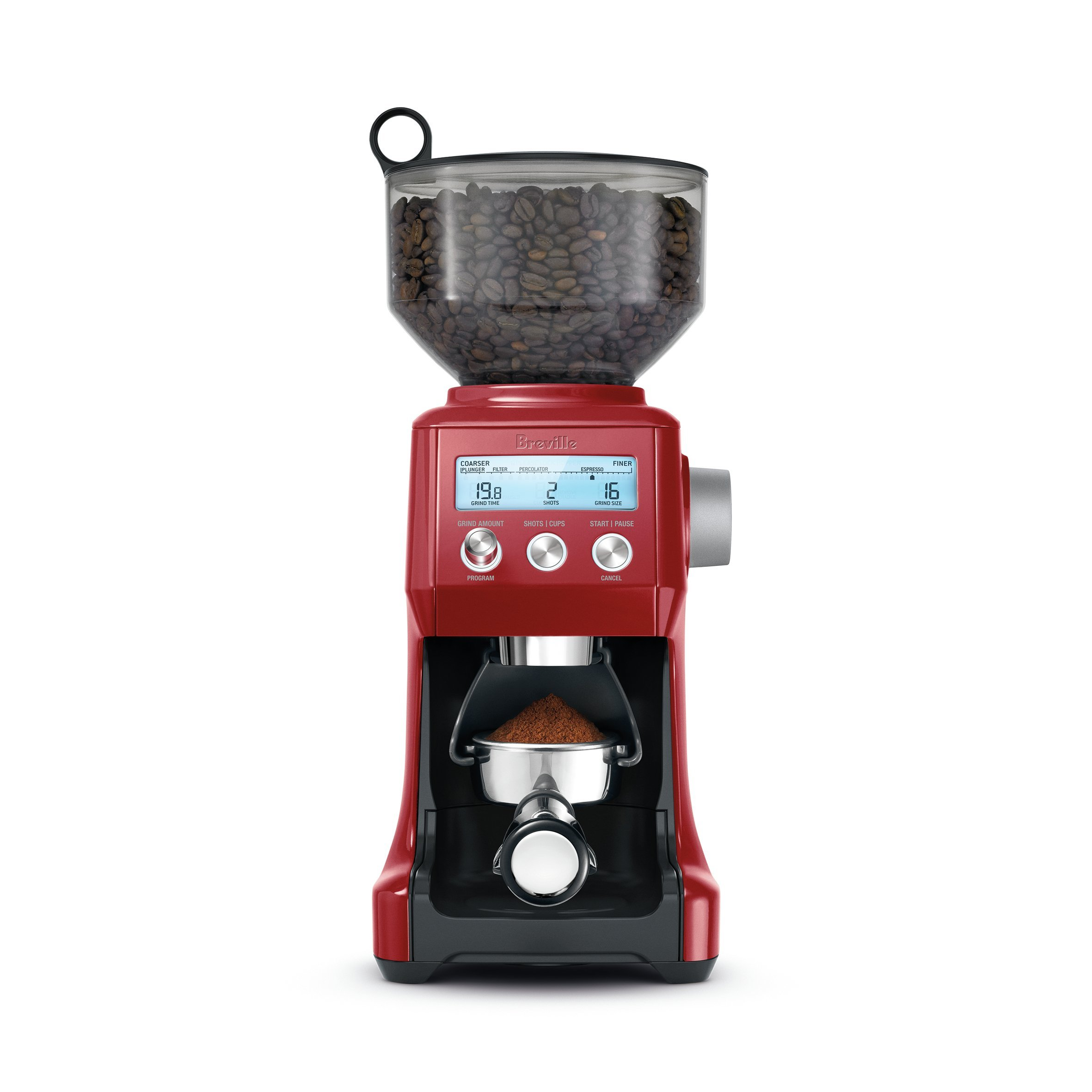 Breville BCG820BCRNXL The Smart Grinder Pro Coffee Bean Grinder, Cranberry Red (Renewed)