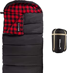 Wakeman Outdoors Sleeping Bag – 32F Rated XL 3 Season Envelope Style with Hood for Outdoor Camping, Backpacking and Hiking with Carry Bag (Black)