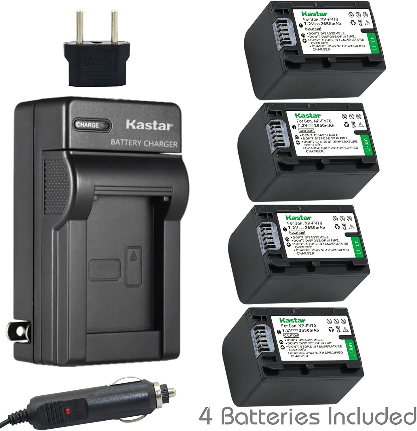 Kastar NPFH70 Battery (4-Pack) + Charger for Sony NP-FH100, FH60, FH70, NP-FH90, TRV and Sony DCR-DVD405 407E 408 410E 450 602E 650E DCR-HC96 DCR-SR85 HDR-HC9 HDR-UX20 HDR-SR12 DCR-SR65E XR500E etc.