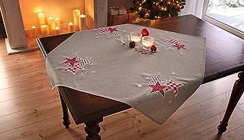 Tischdecke Roter Stern Tischdeko Weihnachten Tischlaufer Winter