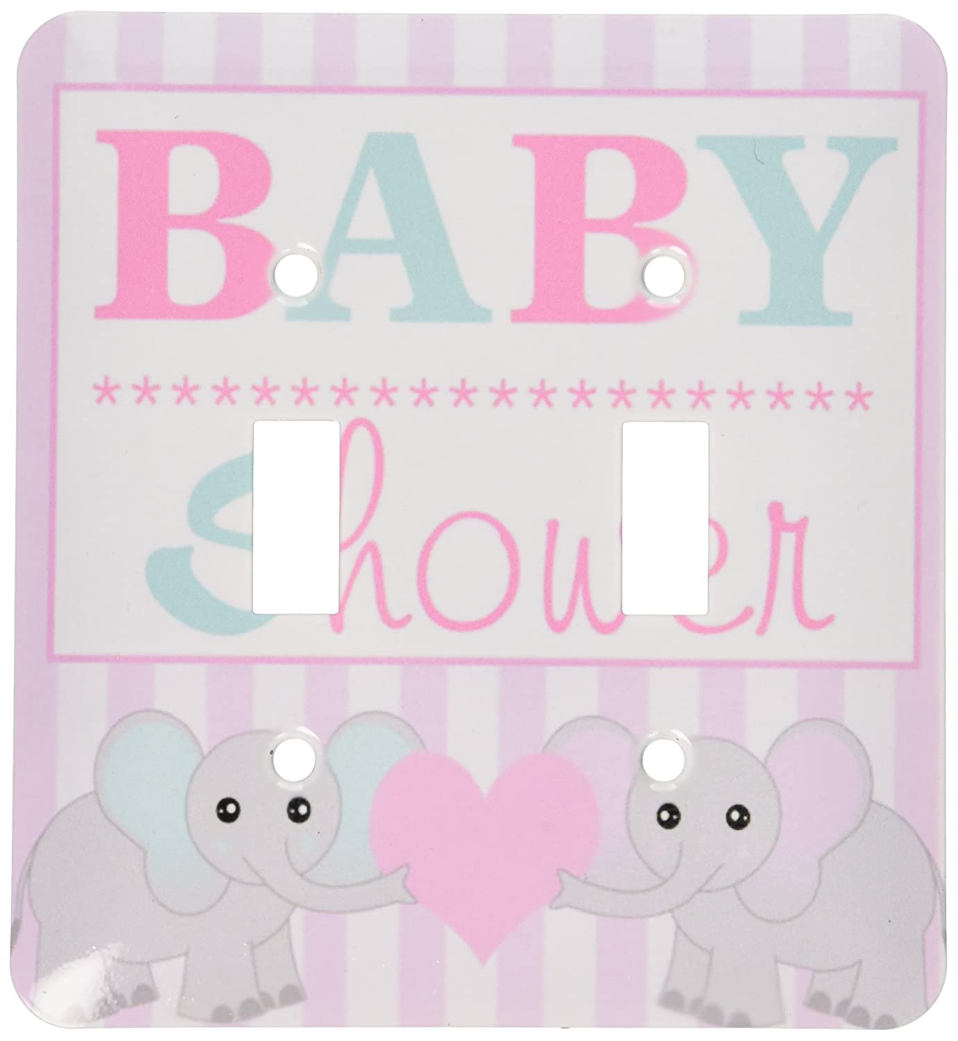 3dRose LSP_57085_2 Baby Shower-Cute Twin Elephants Pink and Blue Double Toggle Switch