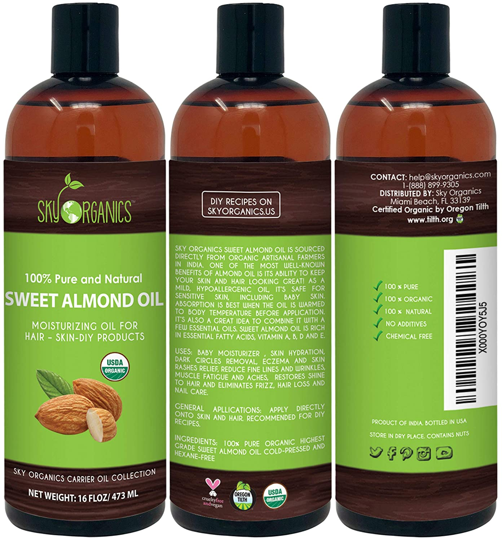 Amazon.com: Aceite de almendra dulce de Sky Organics 100 ...