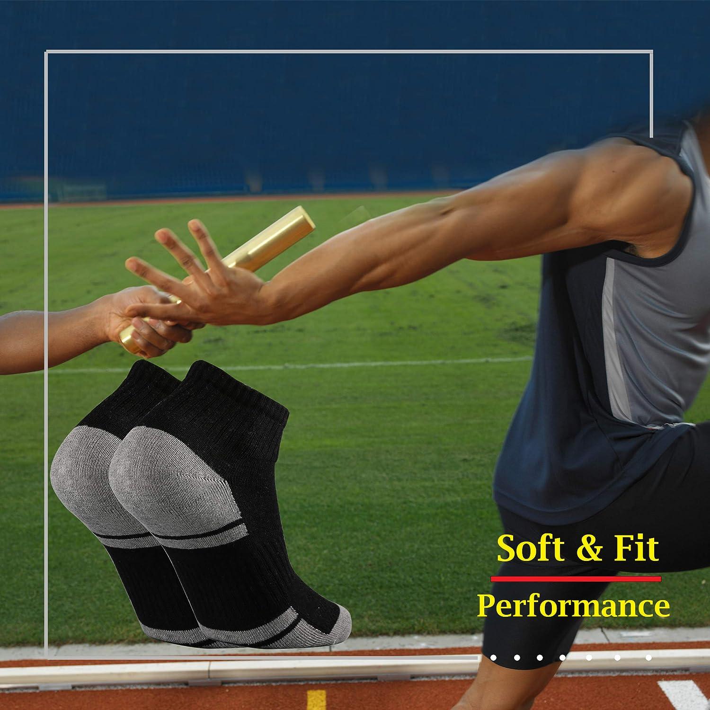 Ortis Cotton Moisture Wicking Mesh Performance Running Ankle Cushion Low Cut Socks for Men 10 Pack