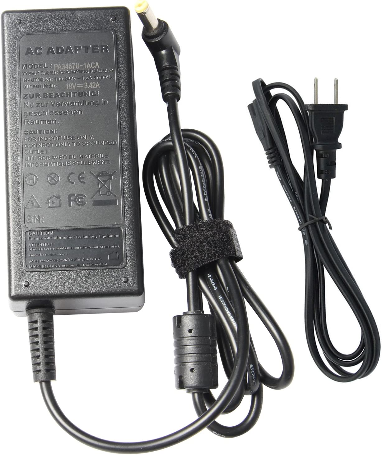 Futurebatt 65W AC Adapter Charger for Gateway NV52 NV53 NV53A NV54 NV55C NV57H NV570P NV59 NV59C NV73 NV76R NV78 NV79 NE522 NE56R NE71B NE722 LT41P LT2016U LT2802U LT4004U LT4008U Power Supply Cord