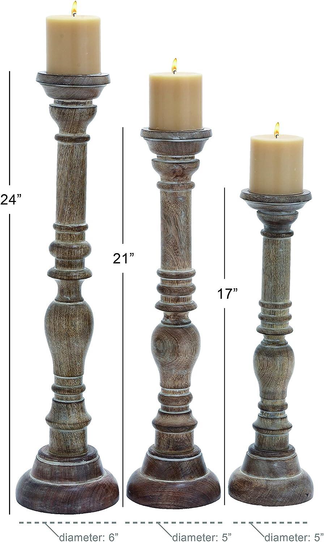 Set of 3 Deco 79 Elegant Wooden Candle Stand with Fine Craftsmanship