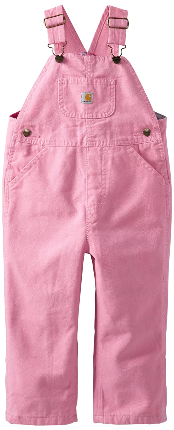 Carhartt Little Girls' Washed Microsanded Canvas Bib Overall Flannel Lined Carhartt Girls 2-6x CM9629