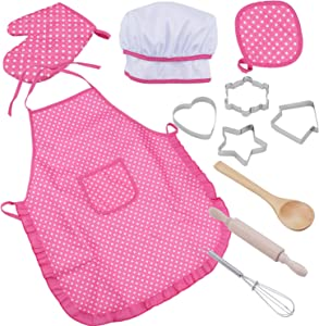 WADE Kids Chef Play Set, Kids Cooking Playset,Chef Dress Up Outfit Set with Kids Apron,Chef Hat and Other Accessories,11pcs Children Pretend Role-Play Cooking Toy for Age 3+