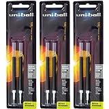 Uni-Ball Signo 207 Gel Pen Refills, 0.7mm, Medium Point, Black Ink, Pack of 6