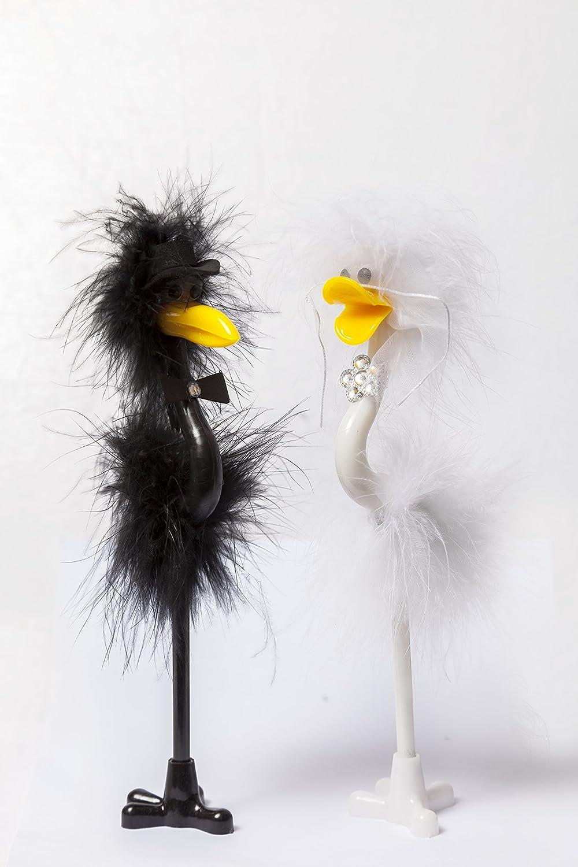 Bride /& Groom Emu Strau/ß Vogel Fun Pen Set Schild Hochzeit Tag Empfang G/ästebuch
