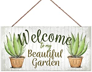 LPLED Garden Sign Decorative Signs Gardening Plants Welcome to My Beautiflu Garden Wood Wall Art Wooden Hanging Decorations