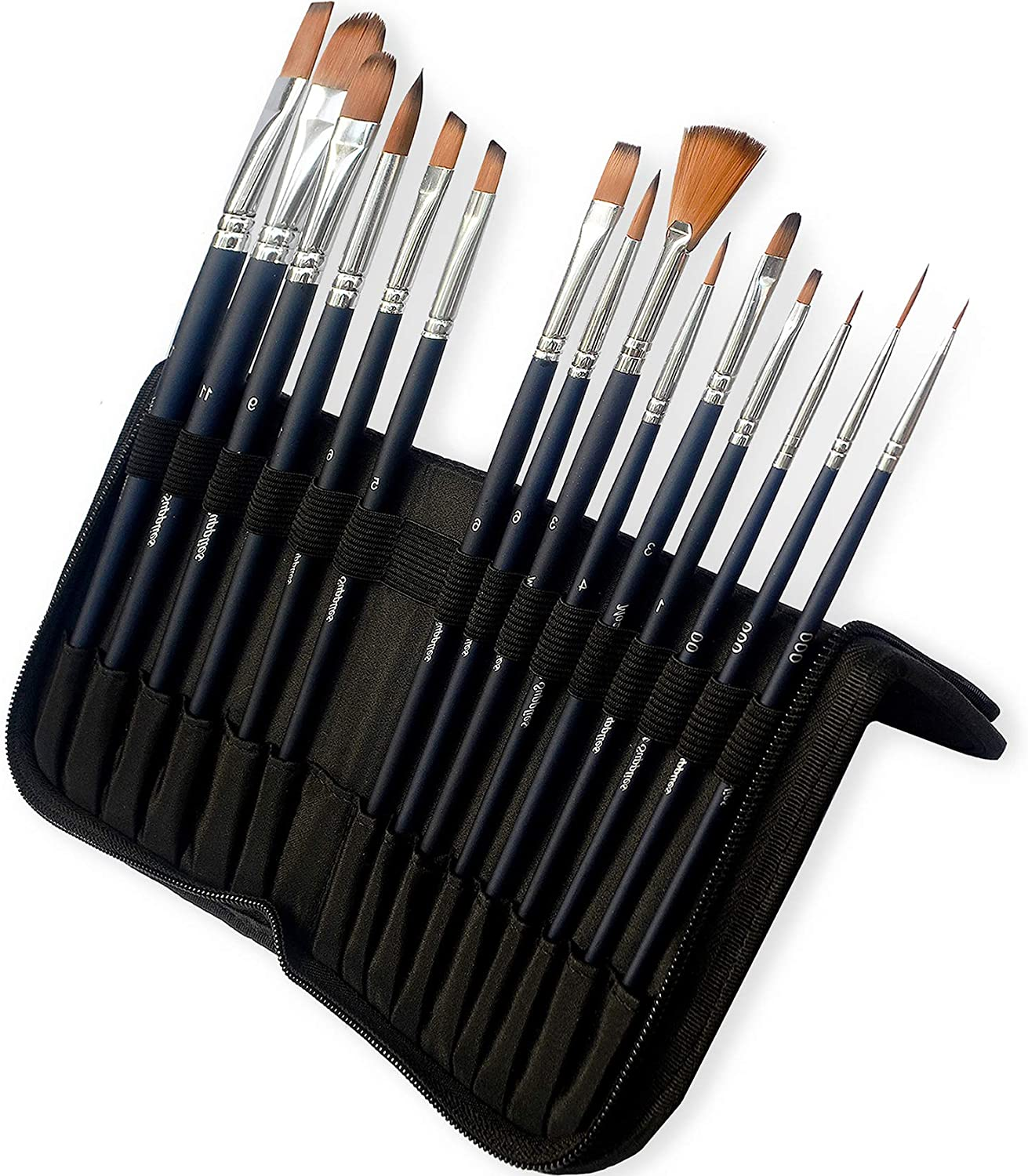 MozArt Supplies Watercolor Paint Brush Set - 15 Assorted Synthetic Hair Paint Brushes - Includes Portable Case with Brush Stand Artist Grade