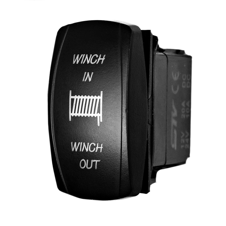LED Lighted for Car Truck Boat ATV UTV -Off- ON STVMotorsports Laser Green Momentary Rocker Switch Winch in//Out 20A 12V ON